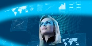 Attractive blonde young woman in futuristic interface