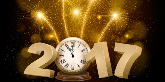 Happy New Year background with 2017, a clock and fireworks. Vector