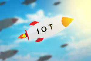 group of IOT or internet of things flat design rocket